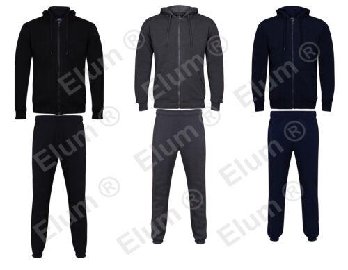 Mens Long Sleeve Full Zip Up Fleece Knit Sweatshirt Cuff Hoodie Bottom Tracksuit