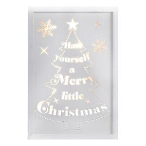 Navidad-Feliz-poco-LIGHT-UP-LED-Blanco-Caja-De-Madera