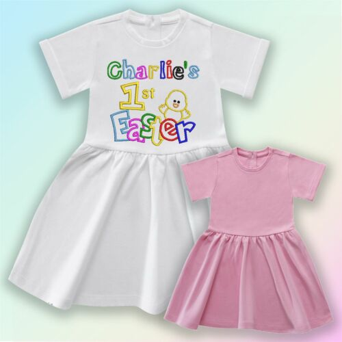 Name 1st Easter Chick Embroidered Baby Cotton Dress Gift Personalised First