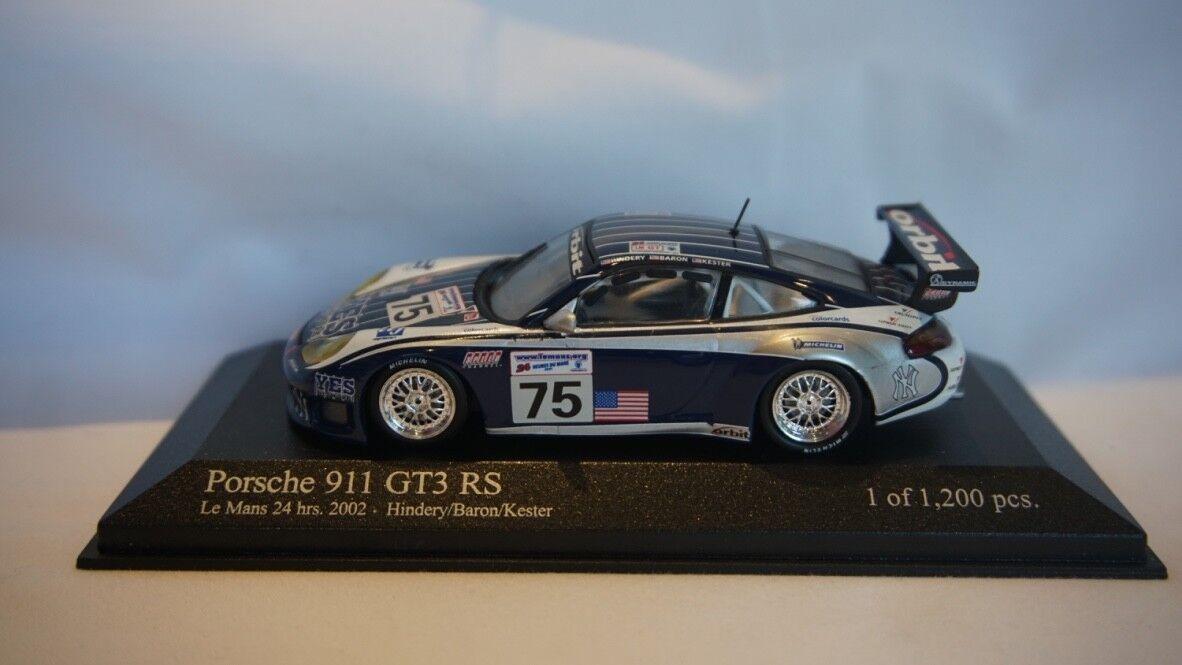 Extrêmement RARE MINICHAMPS PORSCHE 911 GT3 RS Le Mans 24hr 2002  75 1 43