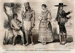Bolivia-Costume-Indian-of-the-Paz-amp-Guaragas-Engraving-Original-19th