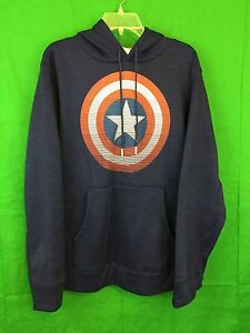 Marvel CAPTAIN AMERICA Blue Pullover Hoodie NWT Gift Size Large