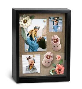 """12x15"""" Black Shadow Box Frame with Natural Linen Backing"""