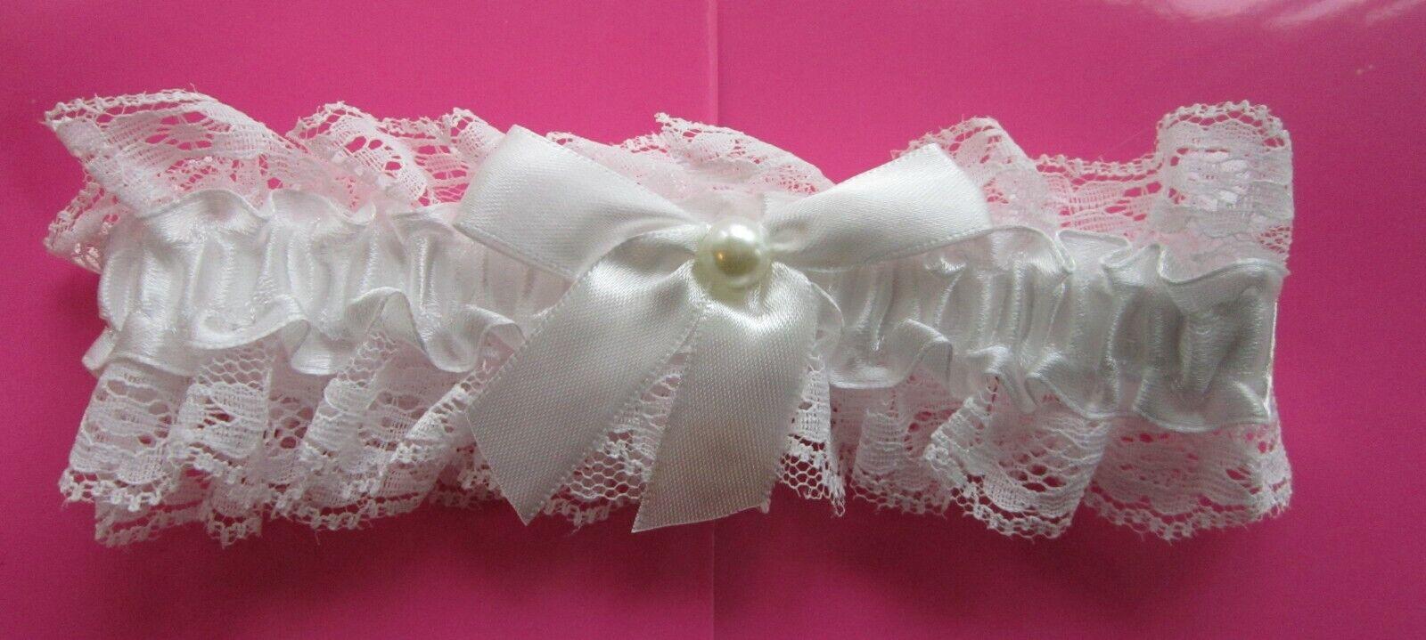 Gorgeous WHITE GARTER | Pearl | White Ribbon | Lace | Bride | Wedding (7)