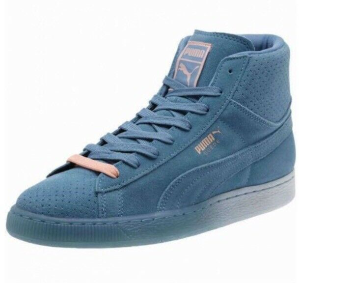 Puma Pink Dolphin Men Classic Collab High Top Suede Shoes 362334 01 Blue Size 8