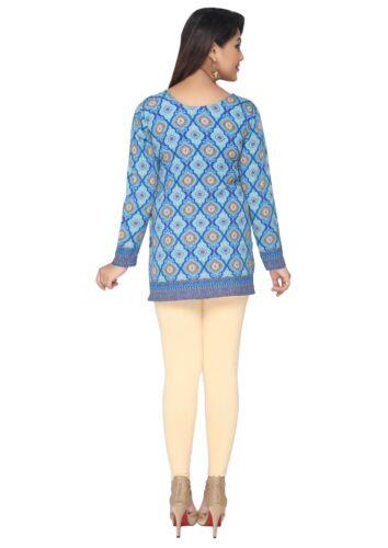 UK Stock Bleu Femmes Fashion Indian Short Kurti Tunique Kurta Top Robe chemise 141 C