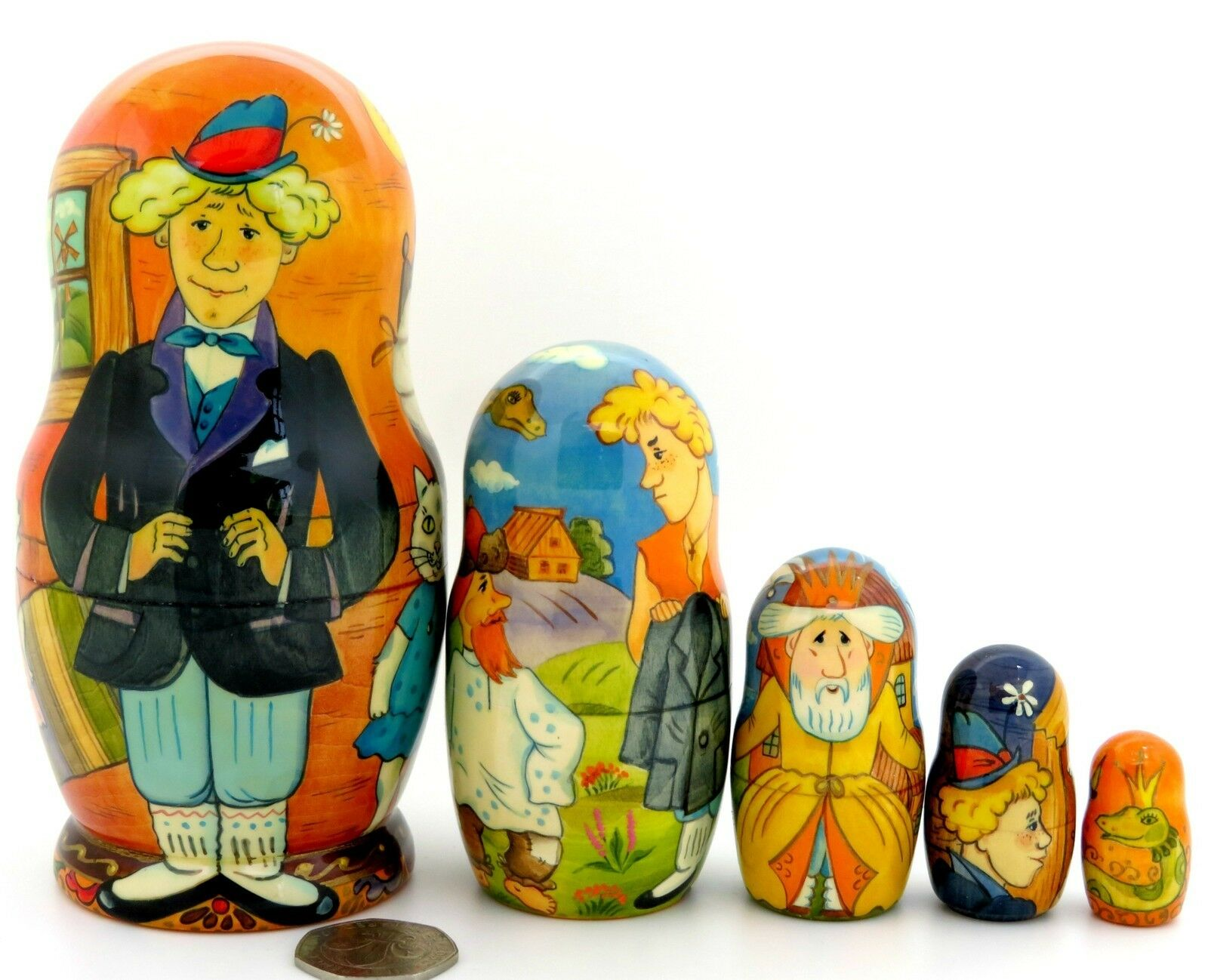 Nesting Dolls Matryoshka Russian Genuine Artist Painted 5 Fairy Tale MAGIC RING