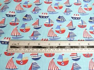 Polycotton Childrens Kids Nautical Yachts Seaside Red Blue White Fabric Material