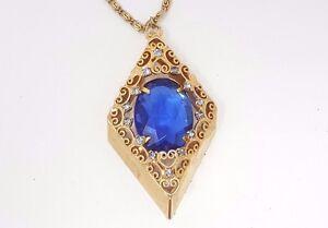 Vintage-Art-Deco-Blue-Rhinestone-Large-Gold-tone-Pendant