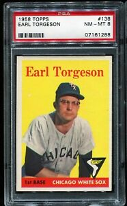 1958-Topps-Baseball-138-EARL-TORGESON-Chicago-White-Sox-PSA-8-NM-MT