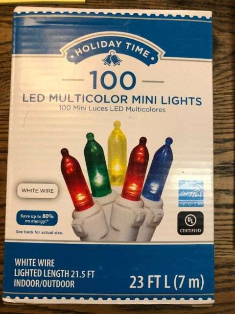 100PK Christmas Holiday  LED Cool White Mini Lights White Wire UL Listed New