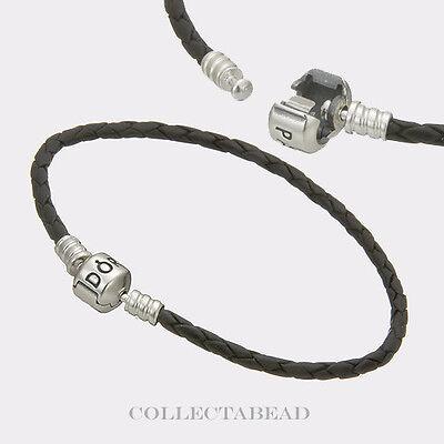 "Authentic Pandora Sterling Silver Black Leather 6.9"" Bracelet  590705CBK"