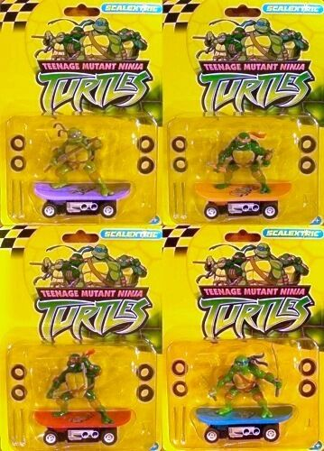 4pc Set de 2004 étrangers Teenage Mutant Ninja Turtles ho slot car Micro Scalextric