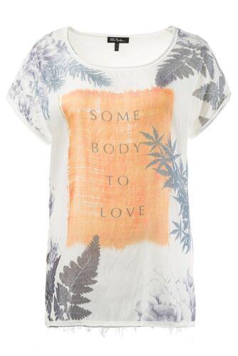 ULLA POPKEN Shirt mit Wording und Blumen ecru NEU