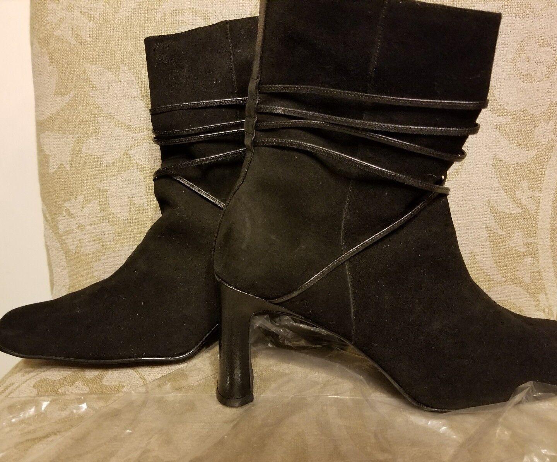 Detalles De Gamuza Cuero Negro Tobillo botas Mujeres Correas de Sharp