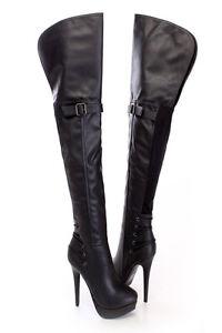 black thigh high sexy stiletto heel strappy platform boots