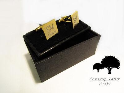 Gemelli In Oro Incisi & Scatola Regalo Personalizzato Gemelli Uomo Migliore Gcls 2-