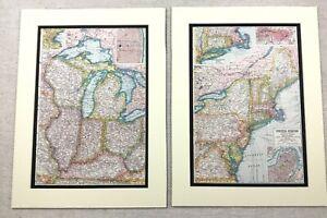 1920-Antik-Aufdruecke-Karte-der-Vereinigte-Staaten-von-Amerika-Boston-New-York-St