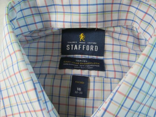 NWT STAFFORD EASY CARE BROADCLOTH  DRESS SHIRT  FITTED Multi-Windowpane Bl Gr.