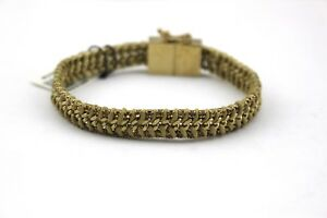 ANN-TAYLOR-Pave-Rhinestone-Crystal-Gold-Tone-Woven-Rope-Chain-Link-Bracelet-NWT