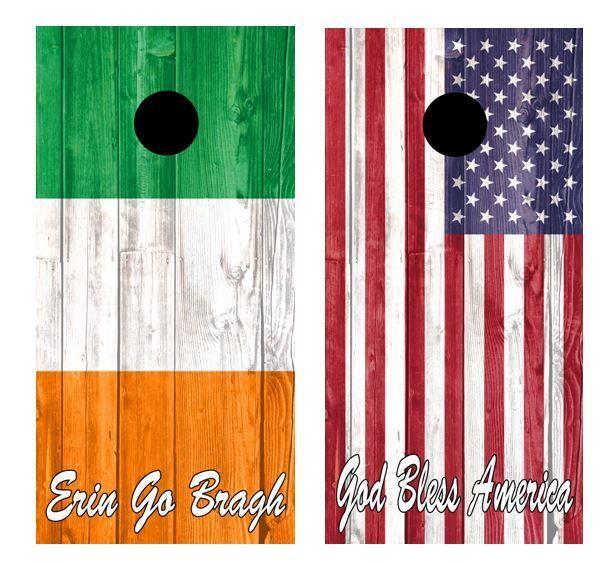 American   Irish Flags Combo Barnwood Cornhole Board Wraps FREE LAMINATION