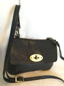 Black-GENUINE-LEATHER-Cross-Body-Shoulder-Bag-Handbag