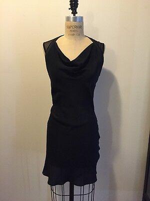 All Saints Black Silk Drape Neck Mesh Back Sleeveless Sexy Dress Sz 4