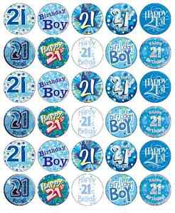 Image Is Loading 30 X 21st Birthday Boy Blue Cupcake Toppers