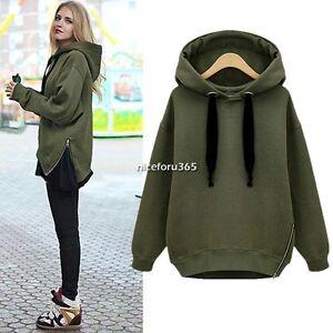 Spring-Women-Zip-Hem-Hoodie-Jacket-Coat-Sweatshirt-Outerwear-Hooded-Sweater-Tops