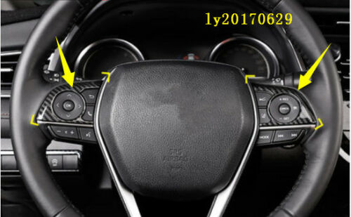 2x carbon fiber Interior Steering Wheel button frame Cover for Toyota Camry 2018