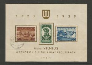Lithuania #316a Used VF Souvenir Sheet>Return of Vilnius to Lithuania Oct.10-39