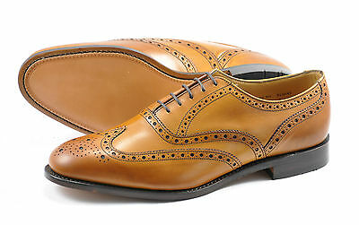 Loake Men's Tan Calf Brogue Shoes - Welted Leather Sole (F Fitting)