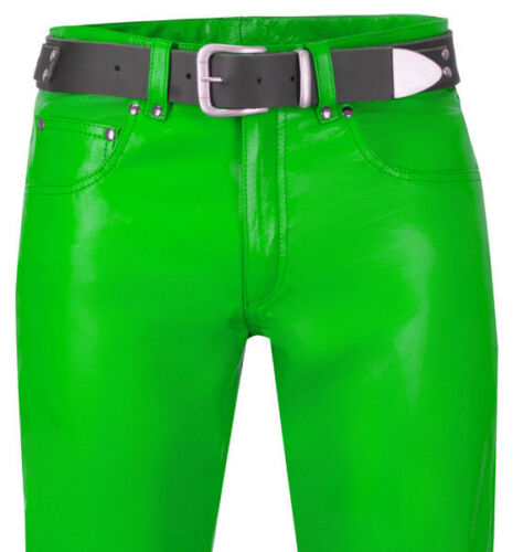 Leder Neu Grün Hose Green Lederhose Leather Hellgrün Lederjeans Trousers Pants HFqUxap