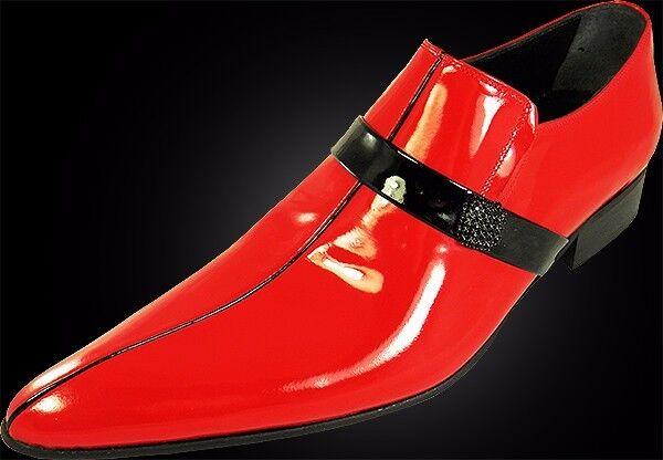 ORIGINALE Chelsy-Designer Italiano Slipper pagine SPILLA vitello Pelle Rosso 45 Scarpe classiche da uomo