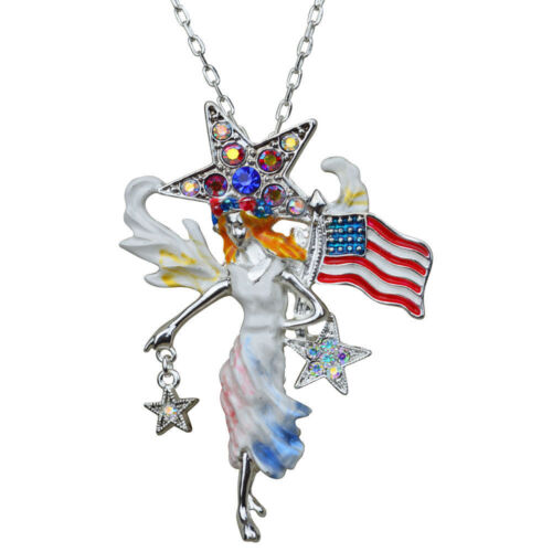 Silvertone KIRKS FOLLY FREEDOM ANGEL PIN PENDANT WITH FREE NECKLACE and SCARF