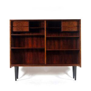 Retro Vintage Danish Omann Jun Wide Rosewood Bookcase Book Cabinet 50s 60s 70s