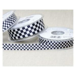 Ribbon-Black-amp-White-Chequered-Check-Flag-Berisfords-15mm-amp-25mm-Various-Lengths