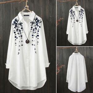 M-5XL-Women-Long-Sleeve-Shirt-Tops-Casual-Asymmetrical-Hem-Blouse-Lapel-Tops