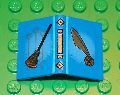 Blue Book 2 x 3 w// Quidditch Broom and Golden Snitch Pattern LEGO HARRY POTTER