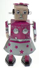 PINK  TIN TOY VENUS  GIRL ROBOT IN DRESS CLOCKWORK WALKING