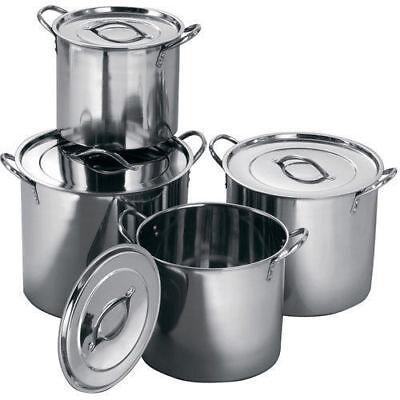 4Pc grande de acero inoxidable Stock Olla de Sopa hirviendo Profunda Catering Olla Set Nuevo