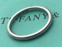 TIFFANY & CO VINTAGE PLATINUM 2MM MILGRAIN ( WEDDING ) BAND RING UK L USA 6