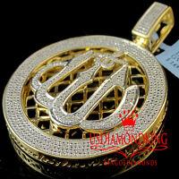 Real Genuine Diamond Allah God Medallion Pendant Charm 14k Yellow Gold Finish