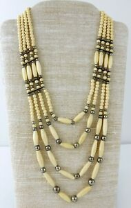 Vintage-Bib-Necklace-4-Strand-Cream-White-Carved-Beads-Silver-Tone-Metal-Spacers