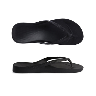 Archies High Arch Support Thongs Black