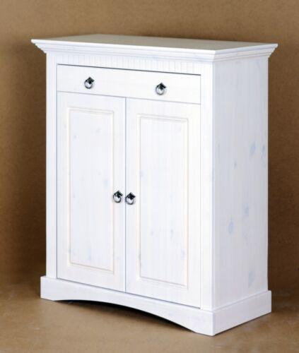 2 trg Kommode aus Kiefernholz weiß lackiert Schrank Sideboard