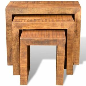 Image Is Loading Solid Wood Nested End Tables Stools Set 3PCS