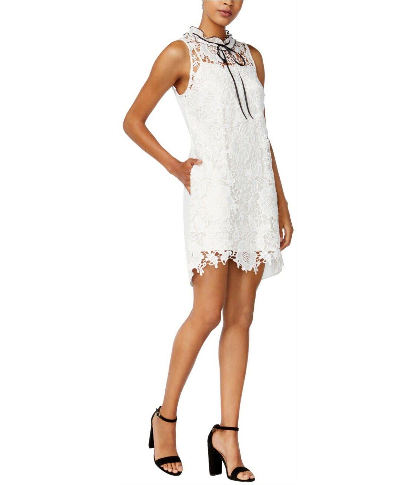 Kensie Woherren Lace Shift High Neck Mini Dress Cream Größe X-Small