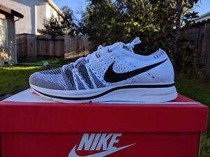 on sale b8b16 3b952 Details about Nike Flyknit Trainer White Black Size 8 Yeezy 350 v2 500 700  static zebra