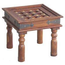Sheesham Wood -Small Square Lamp Table/ Side Table  with Glass